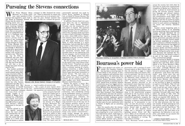 Article Preview: Pursuing the Stevens connections, May 1986 | Maclean's