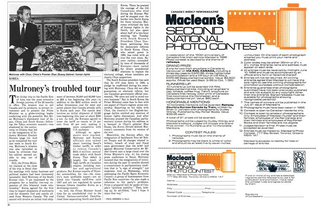 Article Preview: Mulroney's troubled tour, May 1986 | Maclean's