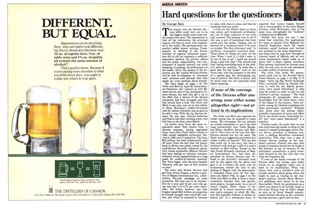 Article Preview: Hard questions for the questioners, May 1986 | Maclean's