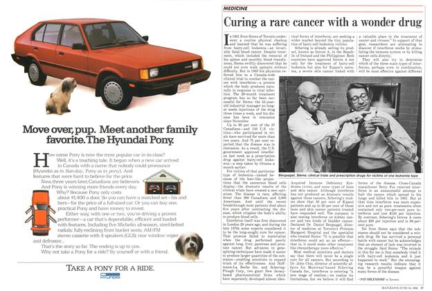 Article Preview: Curing a rare cancer with a wonder drug, June 1986 | Maclean's