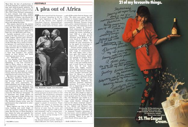 Article Preview: A plea out of Africa, June 1986   Maclean's