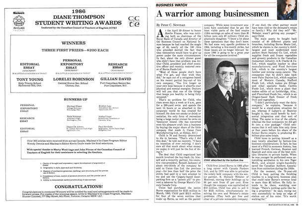 Article Preview: A warrior among businessmen, June 1986 | Maclean's