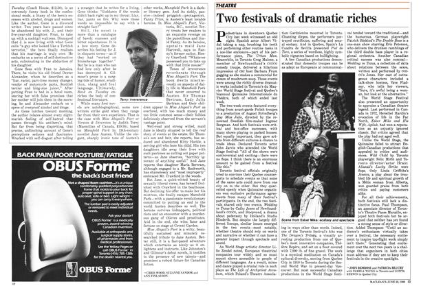 Article Preview: Two festivals of dramatic riches, June 1986 | Maclean's