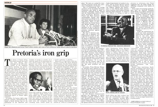 Article Preview: Pretoria's iron grip, June 1986 | Maclean's