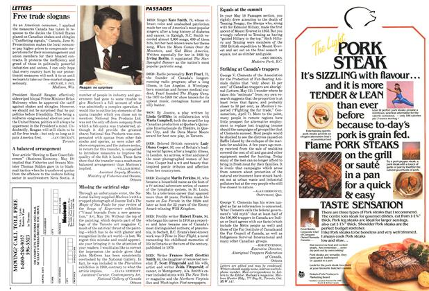 Article Preview: Free trade slogans, June 1986 | Maclean's