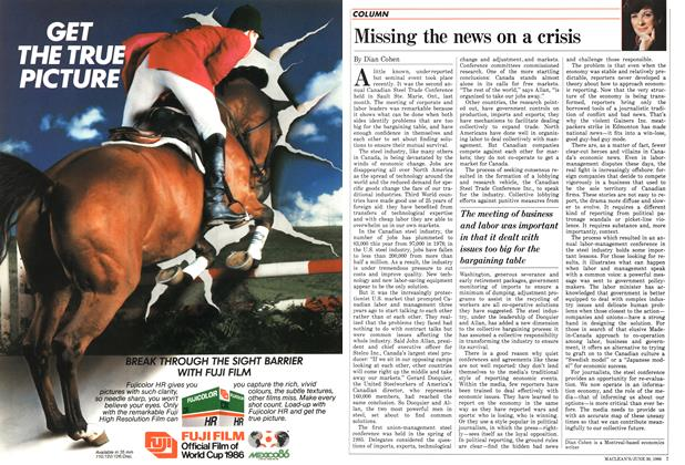 Article Preview: Missing the news on a crisis, June 1986 | Maclean's
