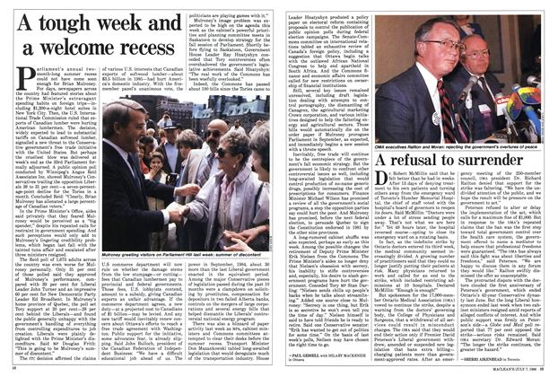 Article Preview: A tough week and a welcome recess, JULY 7,1986 1986 | Maclean's