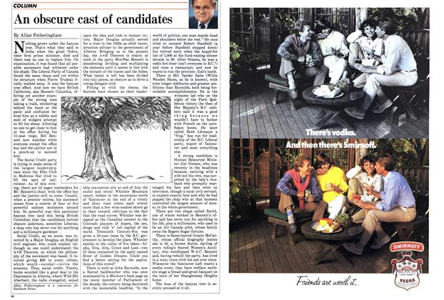 Article Preview: An obscure cast of candidates, JULY 7,1986 1986 | Maclean's