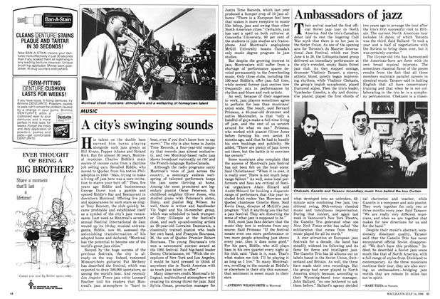 Article Preview: A city's swinging sounds, July 1986   Maclean's