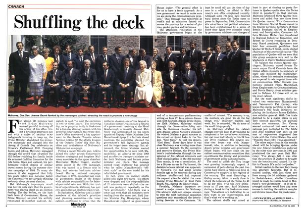 Article Preview: Shuffling the deck, July 1986 | Maclean's