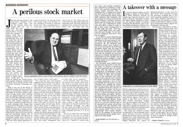 Article Preview: A perilous stock market, July 1986 | Maclean's