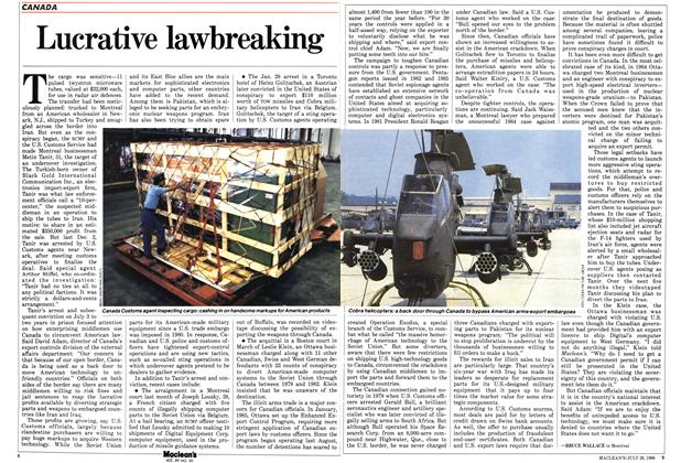 Article Preview: Lucrative lawbreaking, July 1986 | Maclean's