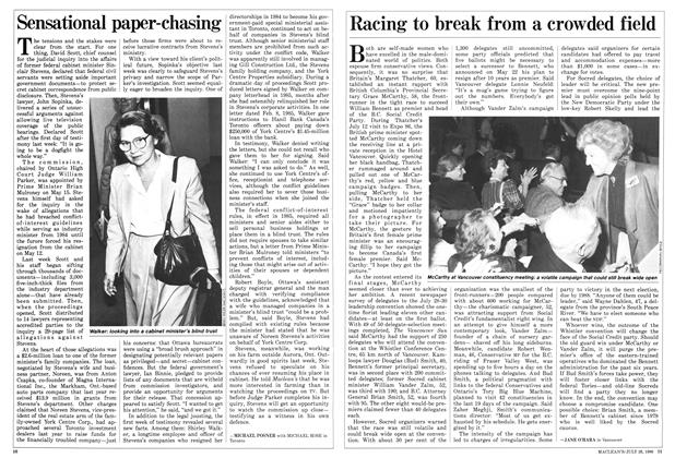 Article Preview: Racing to break from a crowded field, July 1986 | Maclean's