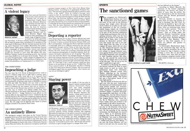 Article Preview: The sanctioned games, August 1986 | Maclean's