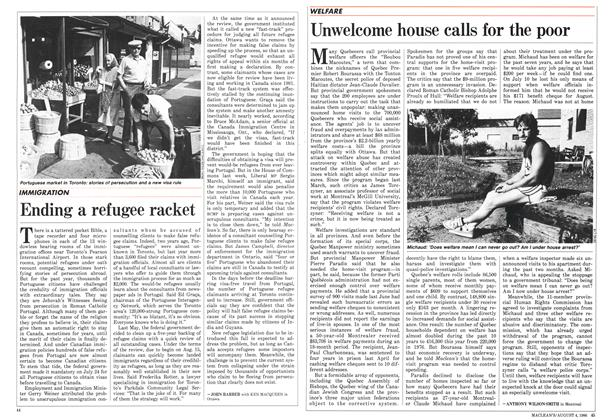 Article Preview: Unwelcome house calls for the poor, August 1986 | Maclean's