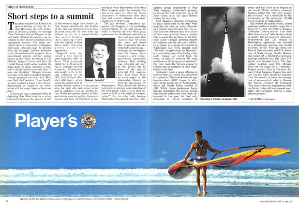 Article Preview: Short steps to a summit, August 1986 | Maclean's