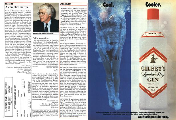 Article Preview: A complex matter, August 1986 | Maclean's
