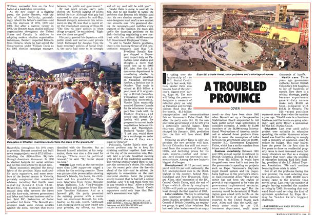 Article Preview: A TROUBLED PROVINCE, August 1986 | Maclean's