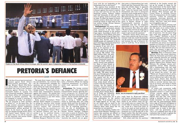 Article Preview: PRETORIA'S DEFIANCE, August 1986 | Maclean's