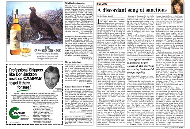 Article Preview: A discordant song of sanctions, August 1986 | Maclean's