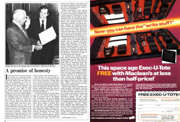 Article Preview: A promise of honesty, August 1986 | Maclean's
