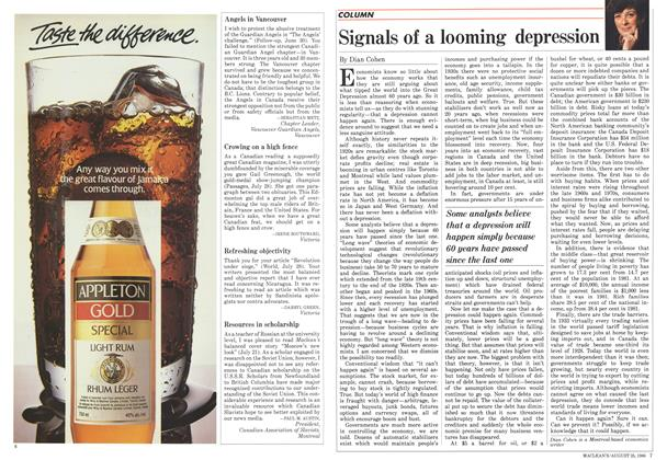 Article Preview: Signals of a looming depression, August 1986   Maclean's