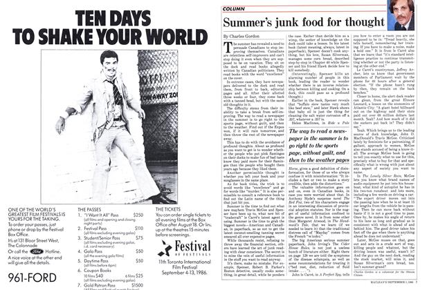 Article Preview: Summer's junk food for thought, September 1986 | Maclean's