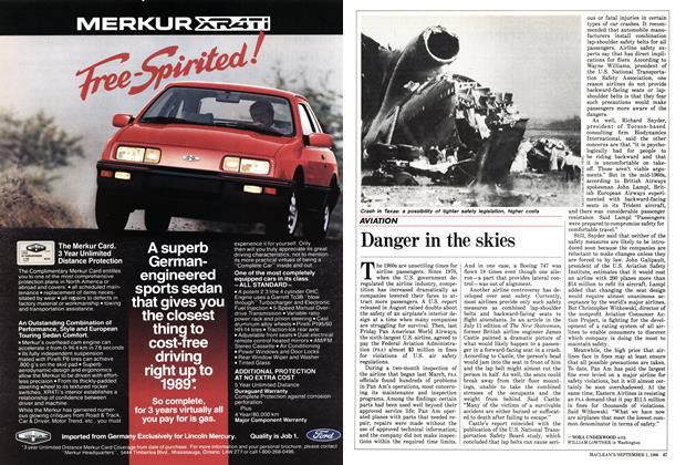 Article Preview: Danger in the skies, September 1986   Maclean's
