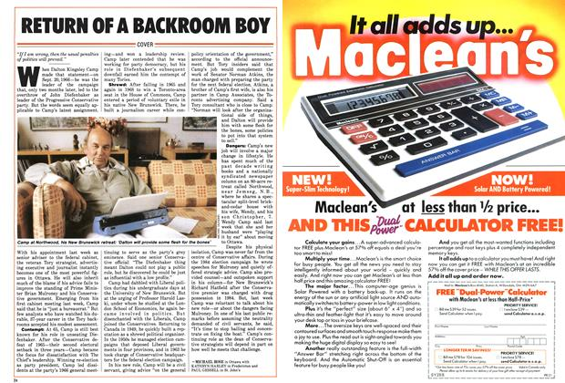 Article Preview: RETURN OF A BACKROOM BOY, September 1986 | Maclean's