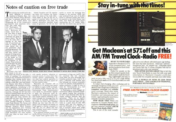 Article Preview: Notes of caution on free trade, September 1986 | Maclean's