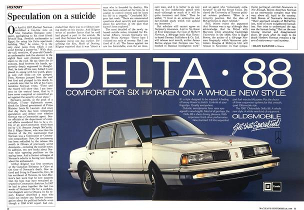 Article Preview: Speculation on a suicide, September 1986 | Maclean's