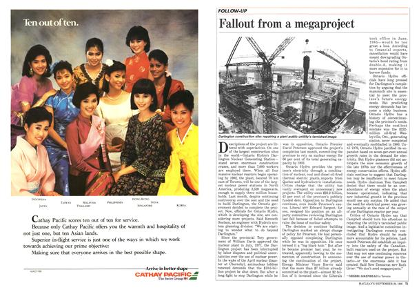 Article Preview: Fallout from a megaproject, September 1986   Maclean's