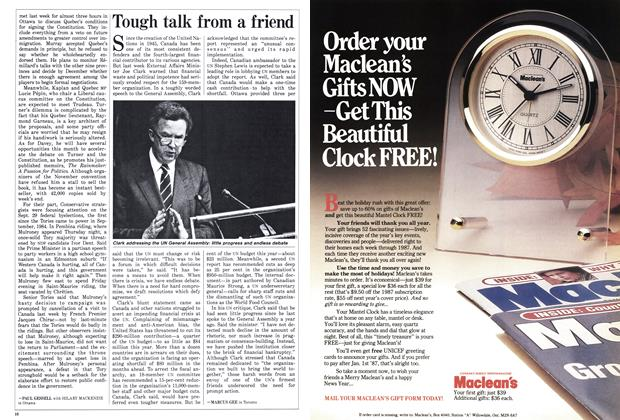 Article Preview: Tough talk from a friend, October 1986 | Maclean's