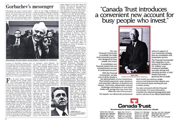 Article Preview: Gorbachev's messenger, October 1986 | Maclean's