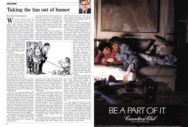Article Preview: Taking the fun out of humor, October 1986 | Maclean's