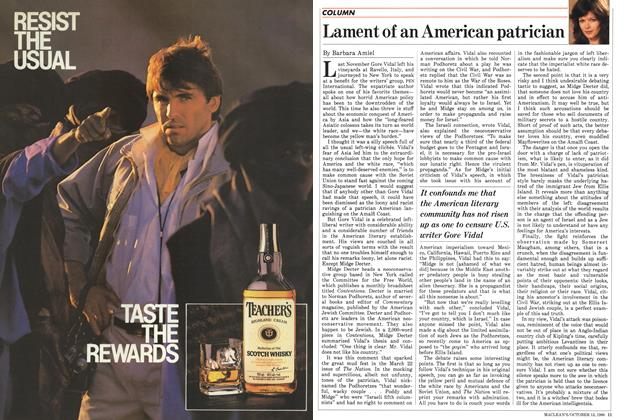 Article Preview: Lament of an American patrician, October 1986 | Maclean's