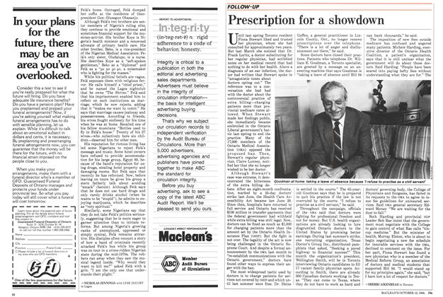 Article Preview: Prescription for a showdown, October 1986 | Maclean's