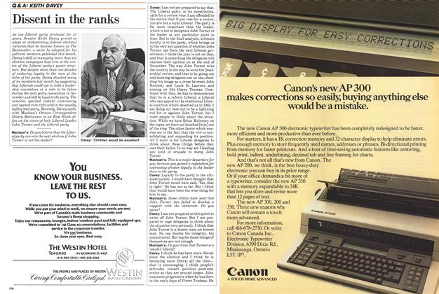 Article Preview: Dissent in the ranks, October 1986 | Maclean's