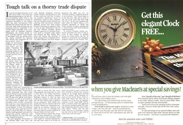 Article Preview: Tough talk on a thorny trade dispute, October 1986 | Maclean's