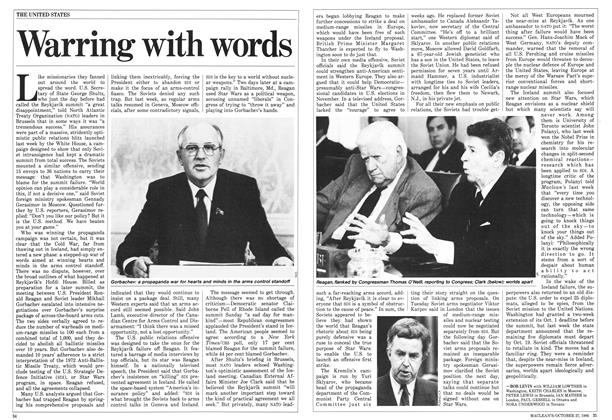 Article Preview: Warring with words, October 1986   Maclean's