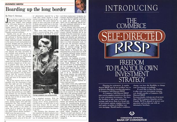 Article Preview: Boarding up the long border, October 1986 | Maclean's