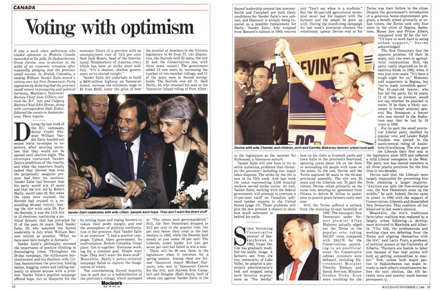Article Preview: Voting with optimism, November 1986 | Maclean's