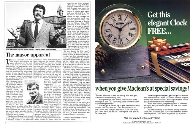 Article Preview: The mayor apparent, November 1986 | Maclean's
