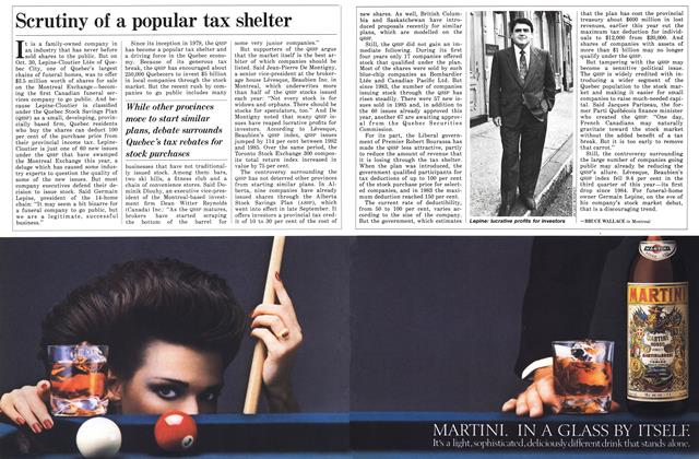 Article Preview: Scrutiny of a popular tax shelter, November 1986 | Maclean's