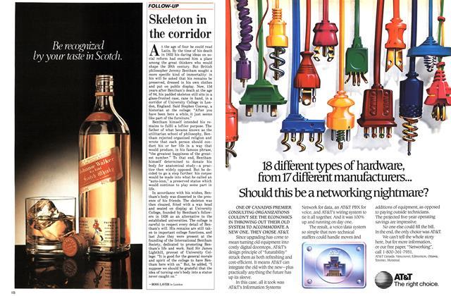 Article Preview: Skeleton in the corridor, November 1986 | Maclean's