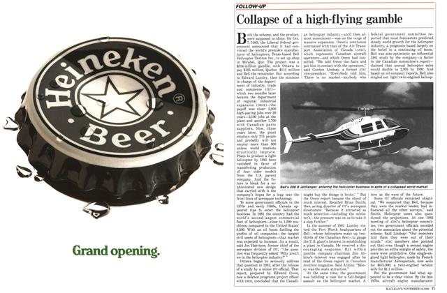 Article Preview: Collapse of a high-flying gamble, November 1986 | Maclean's