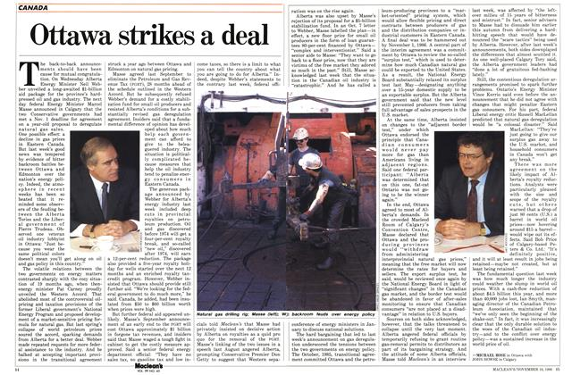 Article Preview: Ottawa strikes a deal, November 1986 | Maclean's