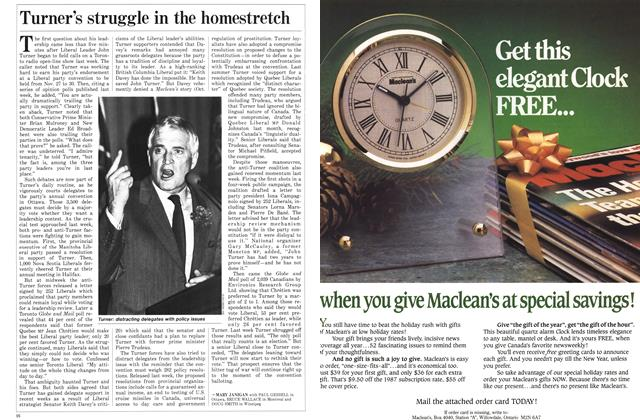 Article Preview: Turner's struggle in the homestretch, November 1986 | Maclean's