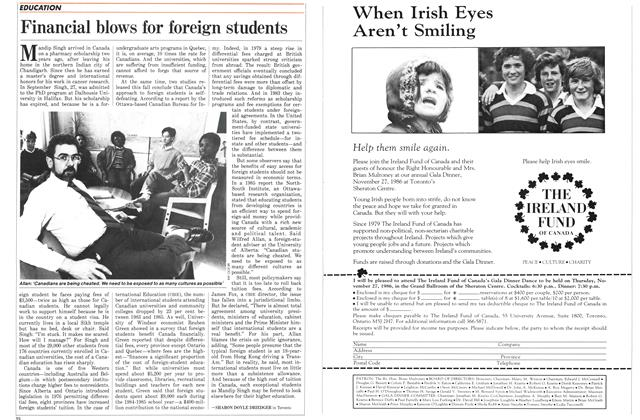 Article Preview: Financial blows for foreign students, November 1986 | Maclean's