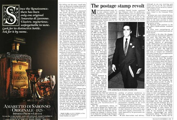 Article Preview: The postage stamp revolt, November 1986 | Maclean's